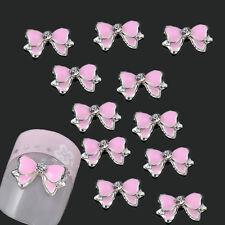 DIY 10PCS 3D Alloy Jewelry Pink Rhinestone Bow Tie Nail Art Stud Decorations
