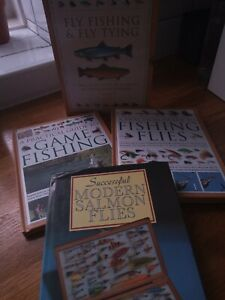 3 X fly fishing books. Guide to fly fishing and tying and modern salmon flies.