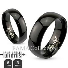 FAMA Stainless Steel High Polished Black IP Dome Band Ring Size 5-14