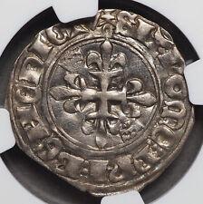 FRANCE. Charles VI, 1380-1422, Silver Gros, NGC AU55