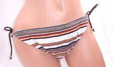 Guess Striped Bikini Swimsuit Swim Full Bottoms Side Tie Size Large Style #25457
