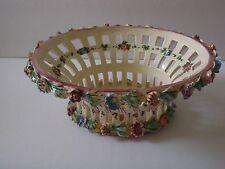 Vintage Italian Pottery Lattice Basket w Molded & Hand Painted Flowers