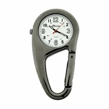 Clip On Doctor Carabiner Gun Metal Pocket Fob Watch TOC55