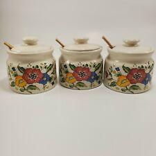 Condiment Pots Ceramic Floral Leaf Motif Spice Jars Set of 3Kitchen Home Gift