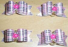 Pretty Pink Tartan mostra tipo Toelettatura Fiocchi Perline Centro