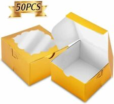 NPLUX 50 Pack Bakery Boxes with Window 4x4x2.5 inches Cookie Boxes for Gift