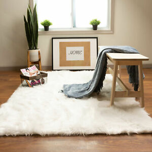 Faux Fur Rug Sheepskin Shag  Silky Soft Solid Area Rug White in Many Sizes