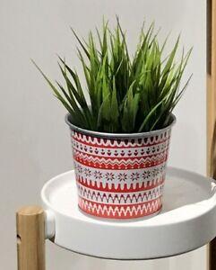 IKEA Vinter Metal Planter 4.25 Inch Norwegian Sweater Print Red White Bucket New