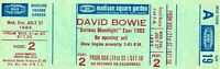 VINTAGE DAVID BOWIE 1983 SERIOUS MOONLIGHT TOUR UNUSED MSG CONCERT TICKET-A19