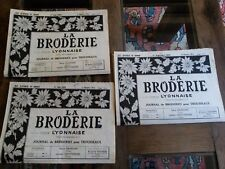 3 OLD NEWSPAPERS LA BRODERIE LYONNAISE 1953 VINTAGE EMBROIDERY PATTERNS