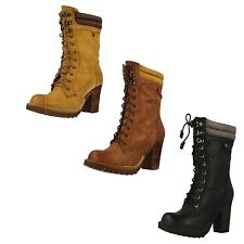 Block Heel Lace Up Mid-Calf Boots for Women