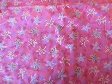 Tropical Cotton Fabric Overall Small Coconut Palm Trees Pinks Reds Lavender - 1y