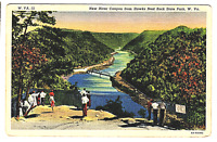 Vintage Postcard New River Canyon Hawks Nest Rock State Park W. Virginia K4