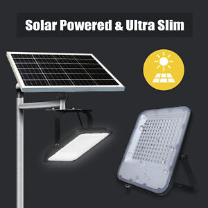 Ultra Slim Solar Powered LED Floodlight Cool White 6500K Outdoor Security Light