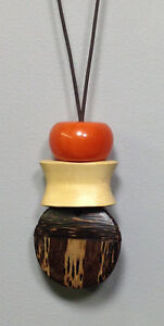African Orange Copal Amber Inlaid Wood Bead Cord Necklace