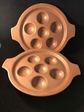 2 Vintage HALL CHINA 1147 BROWN AEBLESKIVER PAN ESCARGOT EGG Dish Plates