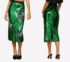 MISS SELFRIDGE Green Sequin Bird Midi Skirt 14 BNWT Party Festival