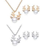 Fashion Xmas Deer Rhinestone Pearl Pendant Necklace Earrings Jewelry Set Gifts