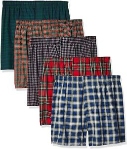 Hanes Men's 5-Pack Tartan Boxer Exposed Waistband Assorted Large Cotton Tag Free