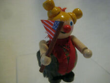 New listing Steinbach Christmas Ornament vintage wooden unusual figure Usa flag yellow hair