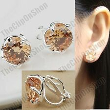 CLIP ON cubic zirconia CHAMPAGNE EARRINGS silver fashion CLIPS nude CZ crystal