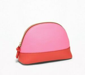 Old Navy Womens Textured Dome Cosmetic Bag Makeup Case Passion Pink Zippered