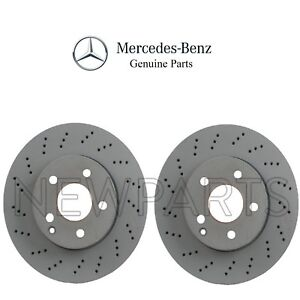 2015 For Mercedes-Benz C300 Front Cross Drilled Slotted and Anti Rust Coated Disc Brake Rotors and Ceramic Brake Pads Stirling Note: w//o Sport Pkg