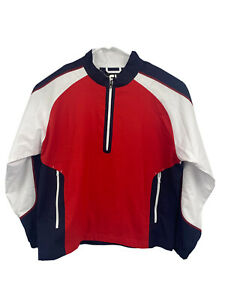 Footjoy FJ Mens XL Red White Blue 1/4 Zip Golf Pullover Jacket