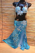 Egyptian Belly Dance Costume bra & Skirt Professional Dancing Silver Turquesa