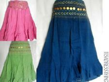 Knee Length Cotton Patternless Casual Skirts for Women
