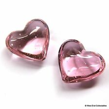 "Beautiful Pair of Pink 1"" Glass Marble Hearts - Wedding Favours Valentines Gift"