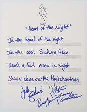 """POCO Signed Autograph """"Heart Of The Night"""" Handwritten Lyrics by All 4 Members"""
