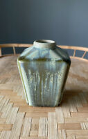 """Vintage Mid Century Drip Glaze Green Vase/bud/weed Approx 4"""" Unique Shape"""