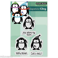 New Penny Black LET'S CHILL Slapstick Cling Rubber Stamp Penguins Winter Holiday