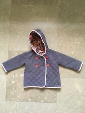 Mini Boden Baby Girls 12-18 Months Cosy Jacket Coat Hooded Grey Purple Quilted