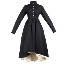 Womens Gothic Long Sleeve Button Dress High Low Asymmetric Victorian Retro