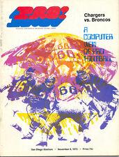 San Diego Chargers Denver Broncos 11/8/70 NFL Game Program