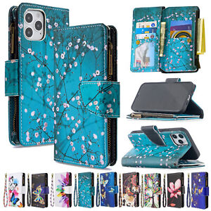 Magnetic Leather Wallet Zipper Case Cover for iPhone 13 12 11 Pro Max XS XR 6 8+