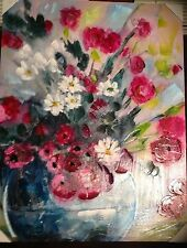 Wall Canvas Floral Hand painted  Acrylic Painting art Wall hanging decor 28x36in
