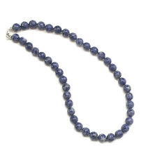 Knotted 10mm blue sodalite bead necklace-24""