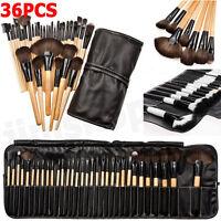 36pcs Cosmetic Eyebrow Shadow Lip Brush Make Up Brushes Set Kit + Pouch Bag