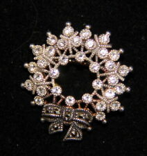 Sterling Silver Mark Judith And Jack Marcasite Brooch Christmas Wreath With Bow