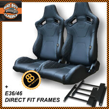 Pair BB6 RS Black Diamond Stitch Reclining Bucket Racing Seats Fits BMW E36 E46