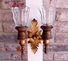 Vintage Wood Double Arm Candle Sconce Gold Tone Metal Floral Center Glass Globes