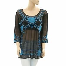 Roja Floral Embroidered Black Tunic Top Coverup Peasant Medium M New 171586