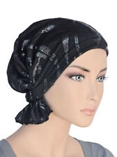 Abbey Cap ® Chemo Hat Cancer Beanie Scarf Cotton Sequin Black