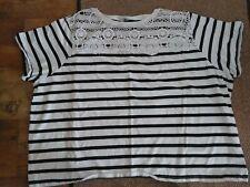Asos black & white striped lace 100% cotton jersey top t-shirt size 28 plus