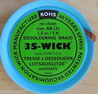 1,5 mts x 2,2mm Malla Desoldar 3S Wick - Desoldering Braid - Made in Switzerland