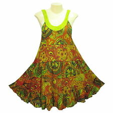 Peasant Boho Hippie Tier Sleeveless Colourful Short Cotton Dress - YO892