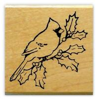 CARDINAL on HOLLY BRANCH Christmas mounted rubber stamp, bird #7